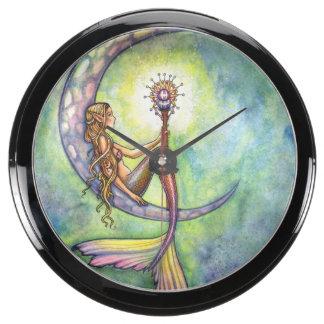 Mermaid Moon Fantasy Art Aquarium Clocks