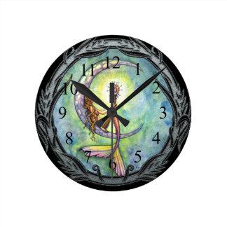 Mermaid Moon Fantasy Art Clock by Molly Harrison