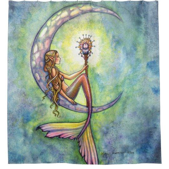 Awesome Mermaid Moon Fantasy Art Illustration Shower Curtain