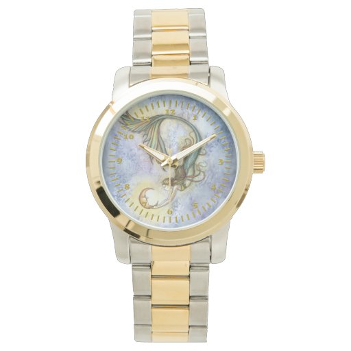 Mermaid moon fantasy art wrist watch zazzle for Minimal art wrist watch