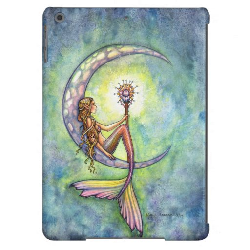 Mermaid Moon Fantasy Illustration iPad Air Cover