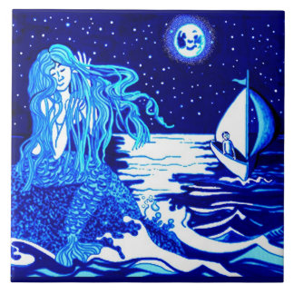 mermaid moon large square tile