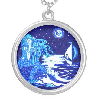 Mermaid moon round pendant necklace