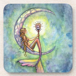 Mermaid Moon Watercolor Mermaid Molly Harrison Art Beverage Coaster