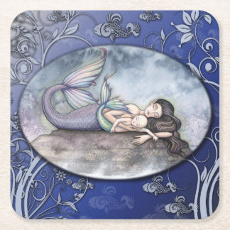 Mermaid Mother and Baby Baby Shower Coasters Square Paper Coaster
