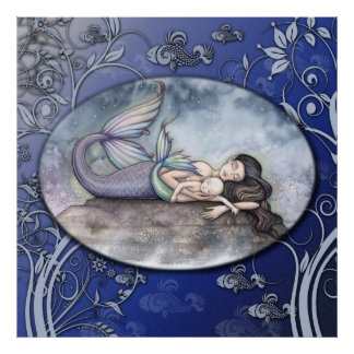Mermaid Mother and Baby Poster