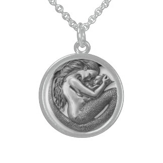 MERMAID MOTHER AND BABY ROUND PENDANT NECKLACE