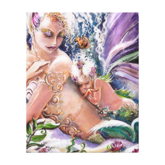 Mermaid Mother and child Wrapped Canvas ART