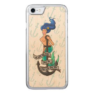 mermaid_msblue_slimwood carved iPhone 8/7 case