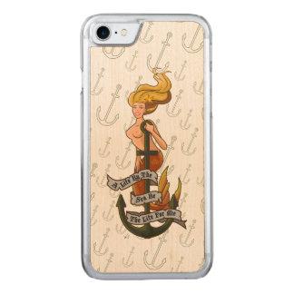 mermaid_msyellow_slimwood carved iPhone 8/7 case