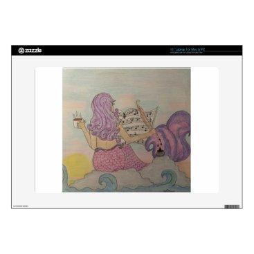 "Beach Themed Mermaid Music 15"" Laptop Decal"