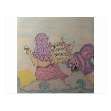 Beach Themed Mermaid Music Postcard