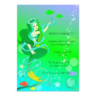 Mermaid n her pearls - kids birthday invitations-1 card