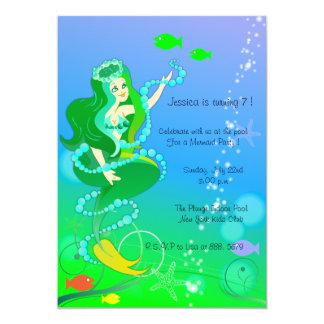 Mermaid n her pearls - kids birthday invitations-4 card