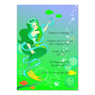 Mermaid n her pearls - kids birthday invitations-6 card