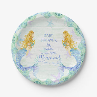 Mermaid n Starfish Baby Shower Watercolor Wood Art Paper Plate