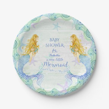 Beach Themed Mermaid n Starfish Baby Shower Watercolor Wood Art Paper Plate