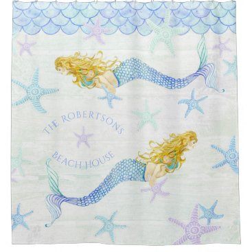 Beach Themed Mermaid n Starfish Family Name Beach House Decor Shower Curtain