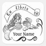 Mermaid name label / ex libris / bookplate square sticker