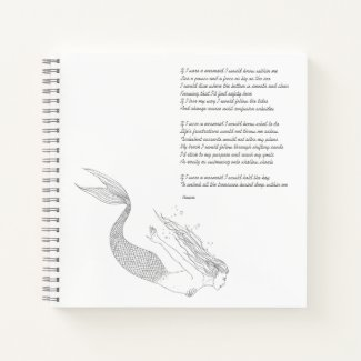 "Mermaid Notebook With Poem ""If I Were A Mermaid"""