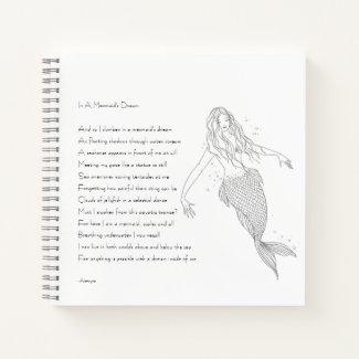 """Mermaid Notebook With Poem """"In A Mermaid's Dream"""""""
