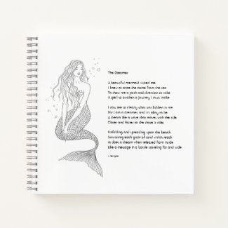 "Mermaid Notebook With Poem ""The Dreamer"""