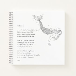 "Mermaid Notebook With Poem ""The Endless Sea"""