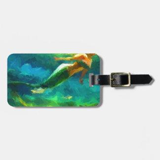 mermaid, ocean, fantasy, little, fish luggage tag
