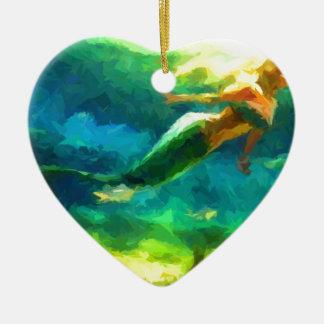 mermaid, ocean, fantasy, little, fish ceramic heart decoration