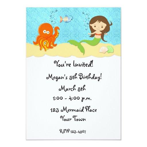 Mermaid, Octopus Birthday Invitation