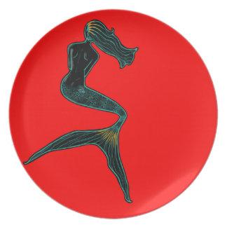Mermaid of the Moon (Scarlet) Party Plate
