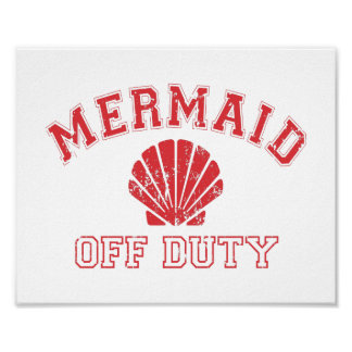 Mermaid Off Duty Distressed Vintage Poster