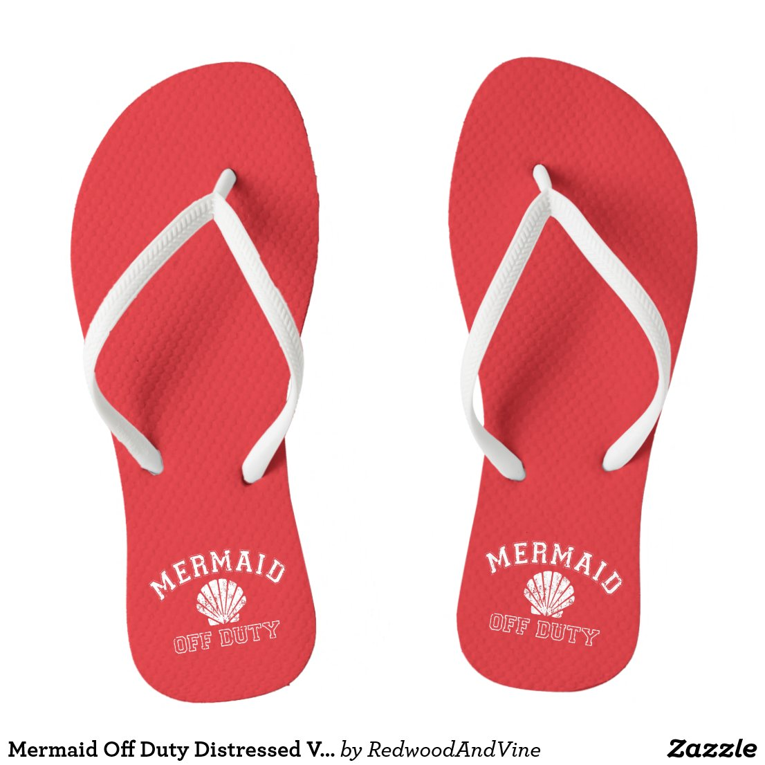 Mermaid Off Duty Distressed Vintage Red Flip Flops