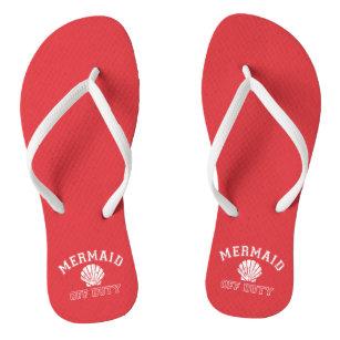 b06bbbaa9350a2 Mermaid Off Duty Distressed Vintage Red Flip Flops