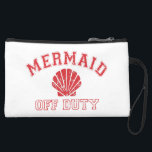 "Mermaid Off Duty Distressed Vintage Suede Wristlet<br><div class=""desc"">Stash your shoreside essentials in this cute clutch and take a land excursion on your day off. Our summery,  beachy design features &quot;Mermaid Off Duty&quot; in vintage distressed red lettering with a seashell illustration.</div>"