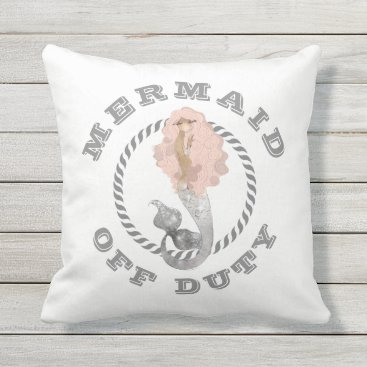 Beach Themed Mermaid Off Duty Girly Nautical Throw Pillow