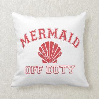 Mermaid Off Duty Sandblasted Typography Outdoor Throw Pillow