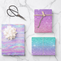 Mermaid Ombre   Iridescent Rainbow Glitter Gift Wrapping Paper Sheets