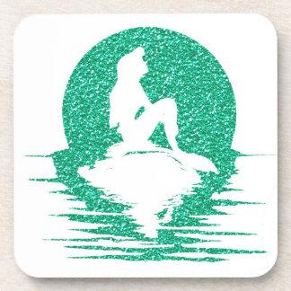 Mermaid on a rock - Green Glitter Beverage Coaster