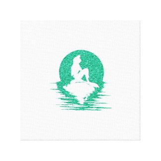 Mermaid on a rock - Green Glitter Canvas Print