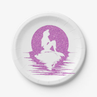 Mermaid on a rock - Pink Glitter Paper Plate