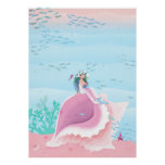 Mermaid on a Shell pastel color poster