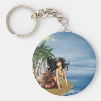 Mermaid on Beach Keychain
