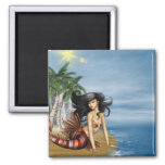 Mermaid on Beach Magnet Fridge Magnets