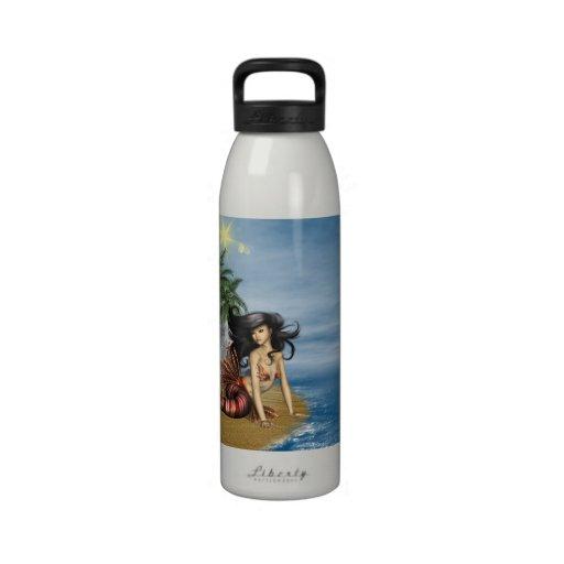 Mermaid on Beach Water Bottle