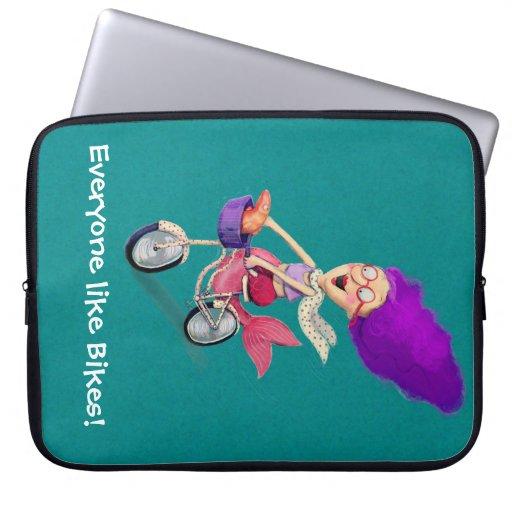 Mermaid on Bike Laptop Computer Sleeve