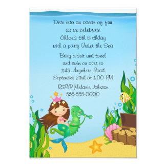 Mermaid on Green Seahorse Birthday 5x7 Paper Invitation Card
