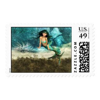Mermaid on Ocean Floor Postage Stamp
