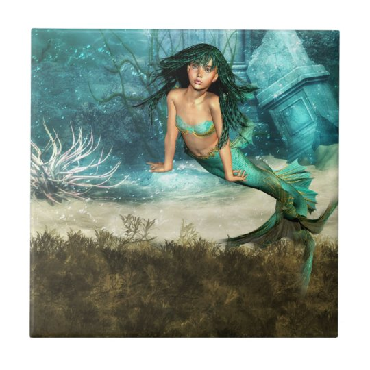 Mermaid on Ocean Floor Tile