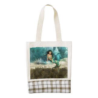 Mermaid on Ocean Floor Zazzle HEART Tote Bag